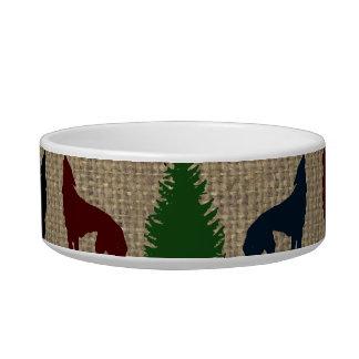 アメリカヘラジカのオオカミの松の木の素朴なバーラップのプリント ボウル