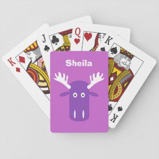 アメリカヘラジカのカードを遊ぶヘッドポップアートのカスタムなモノグラム トランプ