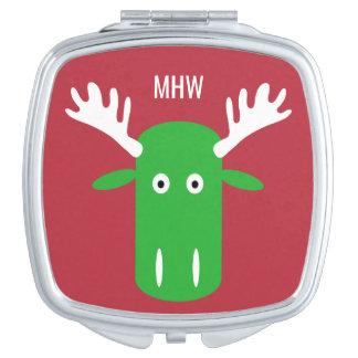 アメリカヘラジカのヘッドポップアートのカスタムなモノグラムのポケット鏡
