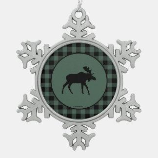 アメリカヘラジカの緑の黒い格子縞 スノーフレークピューターオーナメント