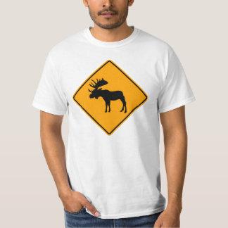 アメリカヘラジカの記号の黄色のダイヤモンドの警告標識 Tシャツ