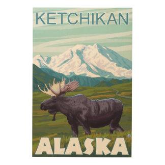 アメリカヘラジカ場面- Ketchikan、アラスカ ウッドウォールアート