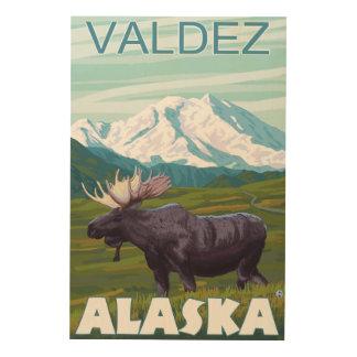 アメリカヘラジカ場面- Valdez、アラスカ ウッドウォールアート
