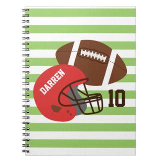 アメリカン・フットボールおよび赤いヘルメット ノートブック
