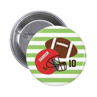 アメリカン・フットボールおよび赤いヘルメット 5.7CM 丸型バッジ