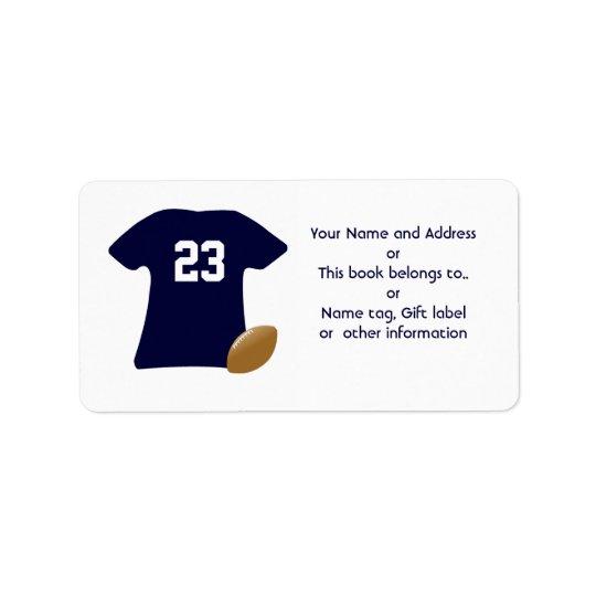 アメリカン・フットボールのラベルが付いているあなたのフットボールのワイシャツ 宛名ラベル