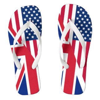 アメリカ人および英国国旗の旗のビーチサンダル ビーチサンダル