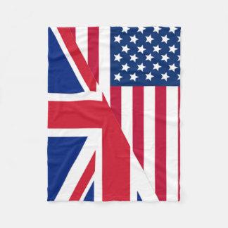 アメリカ人および英国国旗の旗のフリースブランケット フリースブランケット