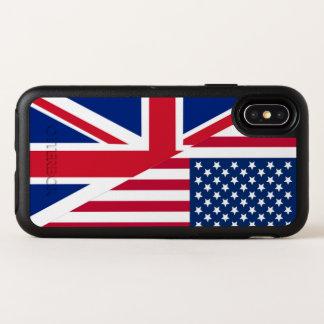 アメリカ人および英国国旗AppleのiPhone Xの箱に印を付けます オッターボックスシンメトリー iPhone X ケース