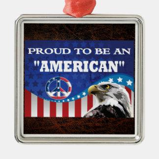アメリカ人があること誇りを持った メタルオーナメント
