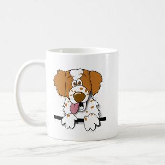 アメリカ人のブリッタニースパニエル犬の漫画犬のマグ コーヒーマグカップ