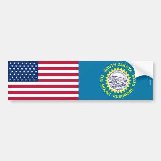 アメリカ人及びサウスダコタの旗のバンパーステッカー バンパーステッカー