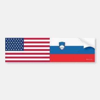 アメリカ及びスロベニア語バンパーステッカーに印を付けます バンパーステッカー