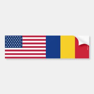 アメリカ及びルーマニア語バンパーステッカーに印を付けます バンパーステッカー