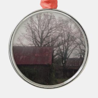 アメリカ国の納屋の小屋の冬場面秋 シルバーカラー丸型オーナメント