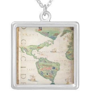 アメリカ大陸の世界地図1565年からの詳細 シルバープレートネックレス