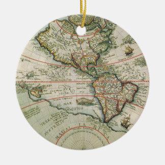 アメリカ大陸の旧式な旧世界の地図、1597年 セラミックオーナメント