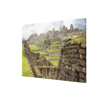アメリカ大陸、ペルー、Machu PIcchu。 古代 キャンバスプリント