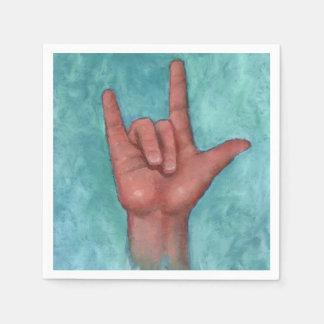 アメリカ手話: 私は愛します: 芸術 スタンダードカクテルナプキン