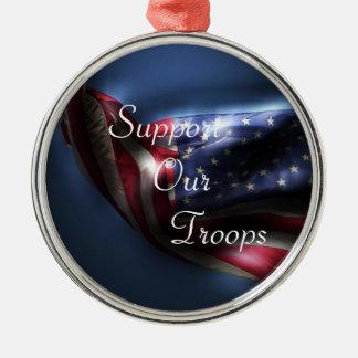 アメリカ旗サポート私達の軍隊 メタルオーナメント