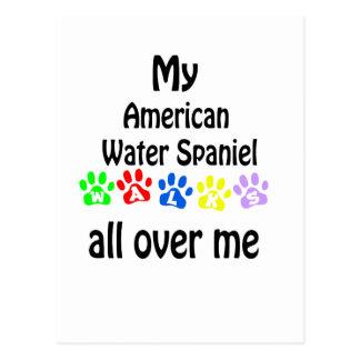 アメリカ水スパニエル犬の歩行のデザイン ポストカード