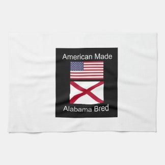 """""""アメリカ生まれ。アラバマは""""旗および愛国心を繁殖させました キッチンタオル"""