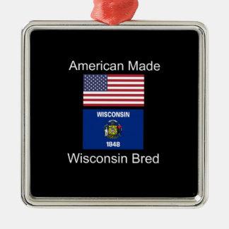 """""""アメリカ生まれ。ウィスコンシンは""""旗のデザインを繁殖させました メタルオーナメント"""