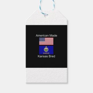 """""""アメリカ生まれ。カンザスは""""旗および愛国心を繁殖させました ギフトタグ"""