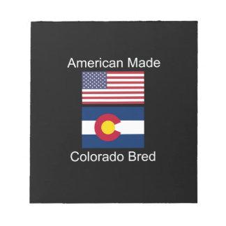 """""""アメリカ生まれ。コロラド州は""""旗のデザインを繁殖させました ノートパッド"""
