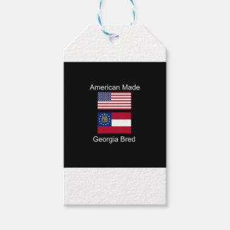 """""""アメリカ生まれ。ジョージアは""""旗および愛国心を繁殖させました ギフトタグ"""