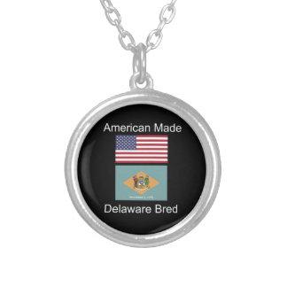 """""""アメリカ生まれ。デラウェア州は""""旗のデザインを繁殖させました シルバープレートネックレス"""