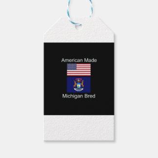 """""""アメリカ生まれ。ミシガン州は""""旗のデザインを繁殖させました ギフトタグ"""