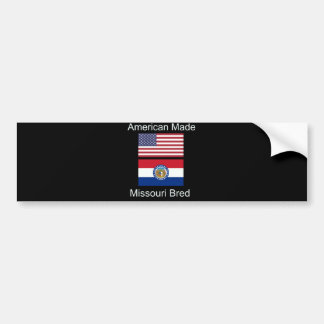 """""""アメリカ生まれ。ミズーリは""""旗のデザインを繁殖させました バンパーステッカー"""