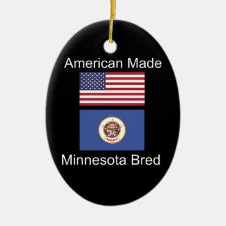 """""""アメリカ生まれ。ミネソタは""""旗のデザインを繁殖させました セラミックオーナメント"""