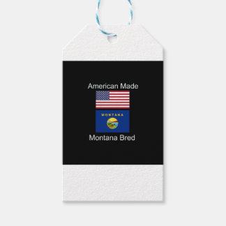 """""""アメリカ生まれ。モンタナは""""旗および愛国心を繁殖させました ギフトタグ"""