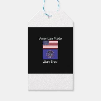 """""""アメリカ生まれ。ユタは""""旗および愛国心を繁殖させました ギフトタグ"""