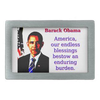 アメリカ私達の無限の恵み-バラック・オバマ 長方形ベルトバックル