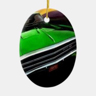 アメリカ筋肉車の充電器の緑 セラミックオーナメント