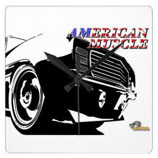 アメリカ筋肉車 スクエア壁時計