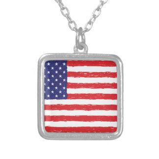 アメリカ米国の旗の*Hand Sketch*私達旗 シルバープレートネックレス