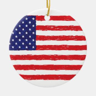 アメリカ米国の旗の*Hand Sketch*私達旗 セラミックオーナメント