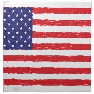 アメリカ米国の旗の*Hand Sketch*私達旗 ナプキンクロス