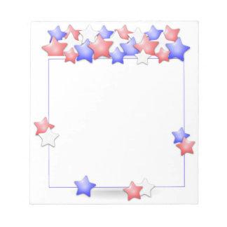 アメリカ米国の独立記念日の愛国心が強い星 ノートパッド