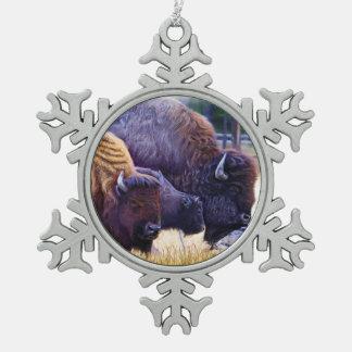 アメリカ野牛家族 スノーフレークピューターオーナメント