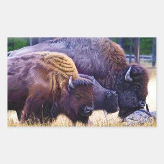 アメリカ野牛家族 長方形シール