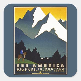 アメリカ-モンタナへの歓迎--を見て下さい スクエアシール