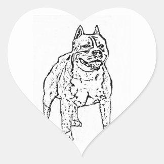 アメリカ(犬)スタッフォードテリアのステッカー ハートシール