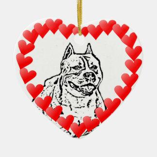 アメリカ(犬)スタッフォードテリアのバレンタインのオーナメント セラミックオーナメント
