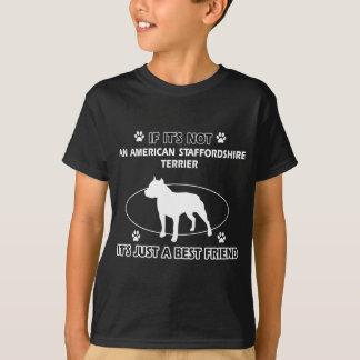 アメリカ(犬)スタッフォードテリアの親友のデザイン Tシャツ
