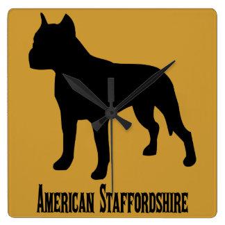 アメリカ(犬)スタッフォードテリア スクエア壁時計